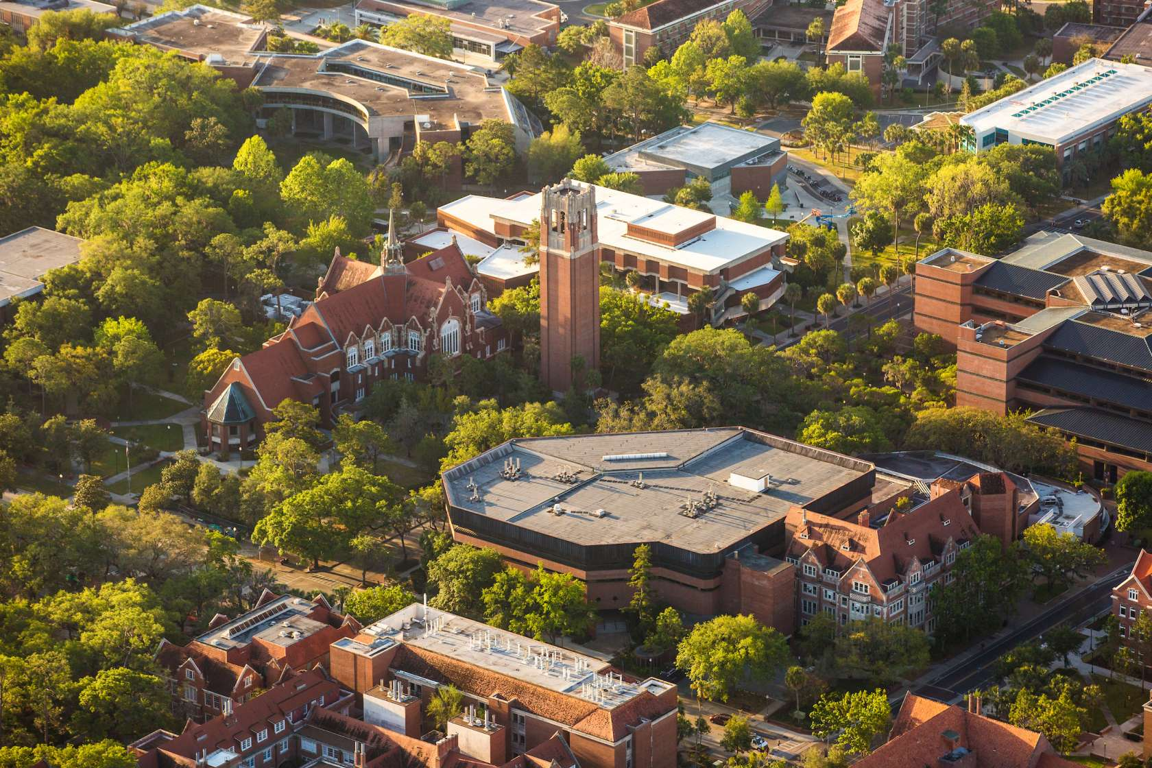 Aerial photo of UF campus